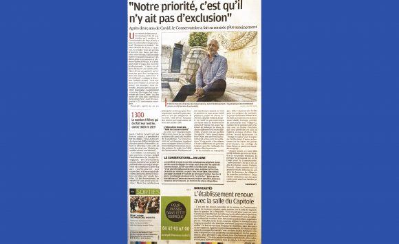La Provence le 6 octobre 2021 : Frédéric Zenatti, directeur du Conservatoire du Pays d'Arles